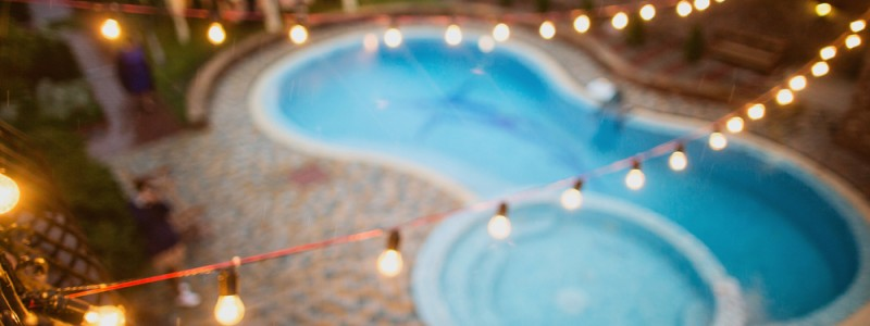 Outdoor String Lighting Over Pool