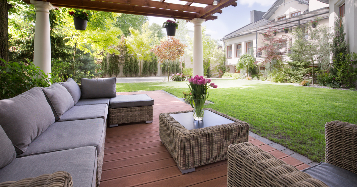 Backyard with Detached Seating Pavilions