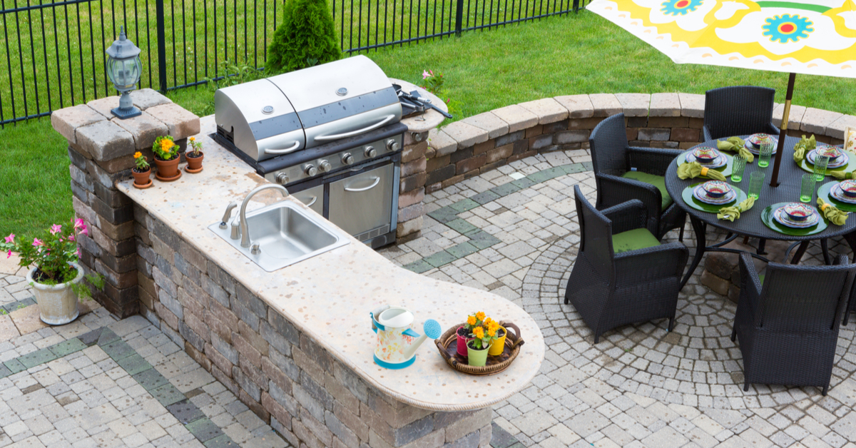 Outdoor Kitchen Area on Backyard