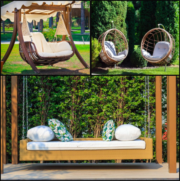 Playful Seating Options on Backyard