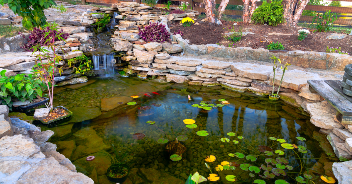 Soothing Water Feature on Backyard